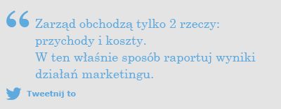 Tweet: Marketing ROI - Co obchodzi zarząd?